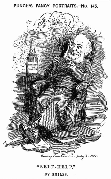 A cartoon drawing of Samuel Smiles from Punch Magazine